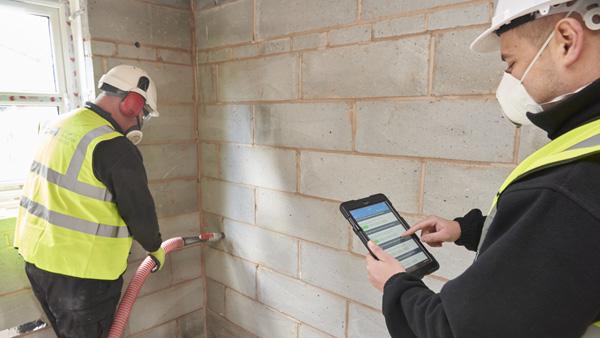 une isolation murs creux par injection, schéma